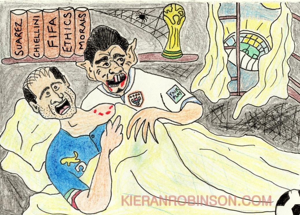 Luis Suarez vampire bites Azzuri Italy Giorgio Chiellini Liverpool Uruguay Nosferatu