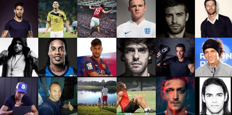 RvP, Rooney, Ronaldinho, Ronaldo, Kaka, Bale, Puyol, Neymar Jr, Rio Ferdinand, Twitter, Iniesta, David Luiz