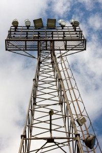 The floodlights at Saltergate, former home of Chesterfield FC