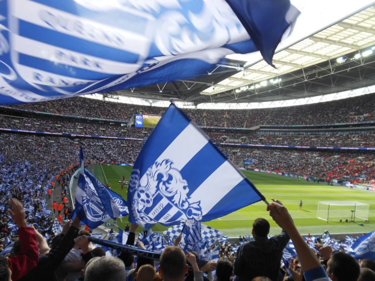 QPR fans, Wembley, Superhoops