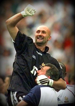 Bald goalkeeper Fabien Barthez