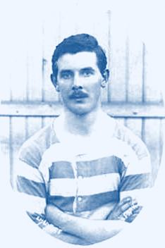 QPR's first England international Evelyn Lintott in the famous blue & white hoops of Queens Park Rangers