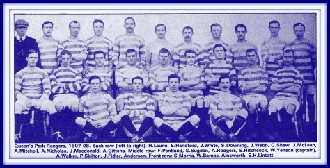 QPR 1907-08 Team Group, QPR 1907-08, QPR Southern League Champions, Evelyn Lintott, Fred Pentland, WW1 Footballers