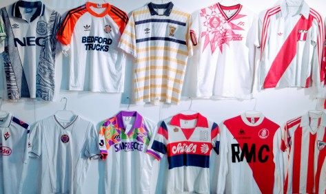 Classic football shirts, design, Peru, Luton Town, Everton, Bedford Trucks, Aston Villa, Scotland